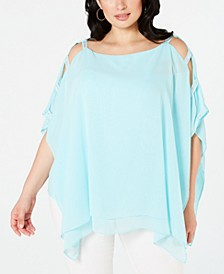 Plus Size Lattice-Sleeve Poncho, Created for Macy's