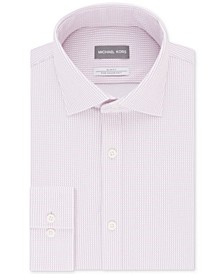 Men's Slim-Fit Non-Iron Performance Knit Check Print Dress Shirt