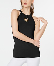 I.N.C. Petite Grommet-Keyhole Sweater Halter Top, Created for Macy's
