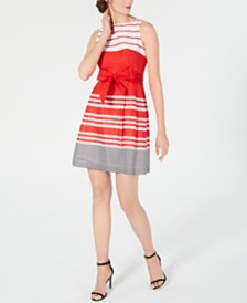 Anne Klein Border-Print Fit & Flare Dress