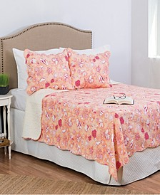 Lagoon Peach King 3 Piece Quilt Set