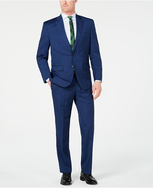 Club Room Men's Classic-Fit Stretch Blue Plaid Suit, Created for Macy's