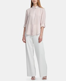 DKNY High-Low Roll-Tab-Sleeve Shirt