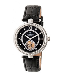 Stella Automatic Black Dial, Black Leather Watch 39mm