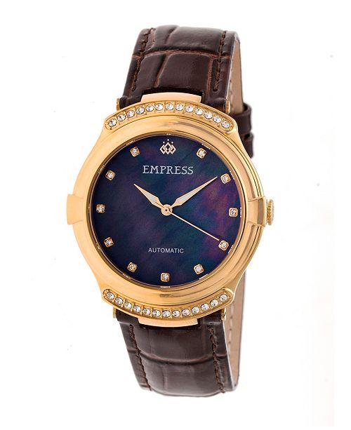 Empress Francesca Automatic Dark Brown Leather Watch 35mm