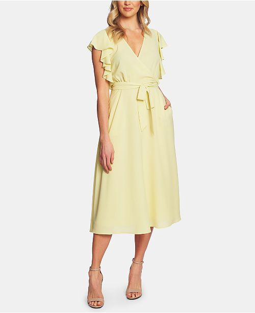 1.STATE Ruffled Faux-Wrap Dress
