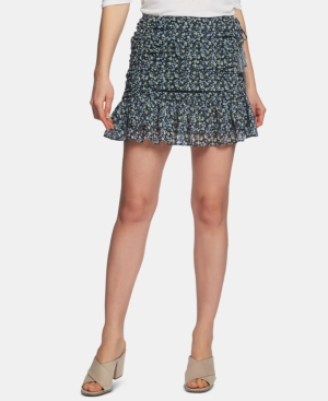 1.state Cascading Calico Ruched-Seam Skirt