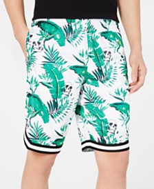 I.N.C. Men's Utopia Botanical Skull Print Shorts, Created for Macy's