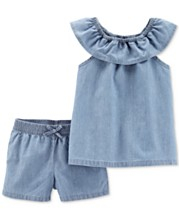 372e544514d65 Carter's Toddler Girls 2-Pc. Cotton Chambray Top & Shorts Set