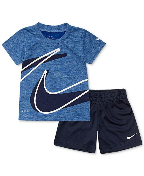 4537f44b60bc Nike Baby Boys 2-Pc. Dri-FIT Swoosh T-Shirt & Shorts Set & Reviews ...