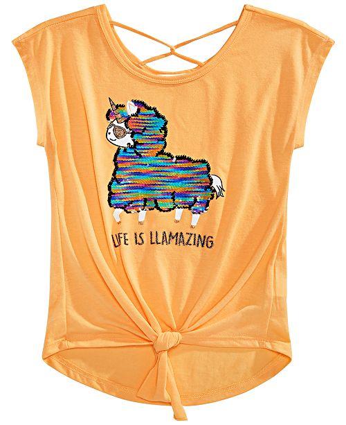Beautees Big Girls Flip Sequin Tie-Front Top