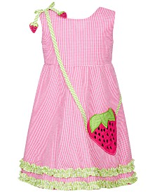 Blueberi Boulevard Little Girls Strawberry Gingham Dress