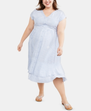 Vintage Maternity Clothing Styles 1910-1960 Motherhood Maternity Plus Size Midi Dress $44.98 AT vintagedancer.com