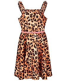 Big Girls Belted Animal-Print Skater Dress