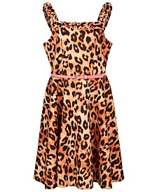 Beautees Big Girls Belted Animal-Print Skater Dress