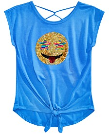 Beautees Big Girls Flip Sequin Tie-Front Top