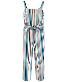 Monteau Big Girls Striped Linen Jumpsuit