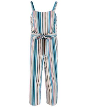 Monteau Big Girls Stripe Sleeveless Jumpsuit