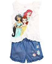 7032d9aad05c9 Disney Little Girls 2-Pc. Princesses Top & Shorts Set, Created for Macy's