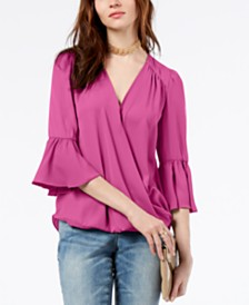 I.N.C. Surplice-Neck Bell-Sleeve Blouse, Created for Macy's
