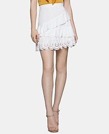 Ruffled Embroidered Mini Skirt