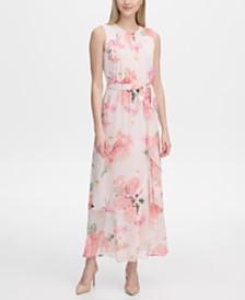 Calvin Klein Belted Floral-Print Maxi Dress