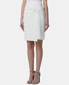 Tahari ASL Twist-Front Faux-Wrap Skirt