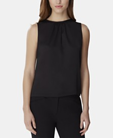 Tahari ASL Gathered-Neck Sleeveless Top