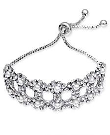 I.N.C. Silver-Tone Rhinestone & Imitation Pearl Openwork Slider Bracelet, Created for Macy's