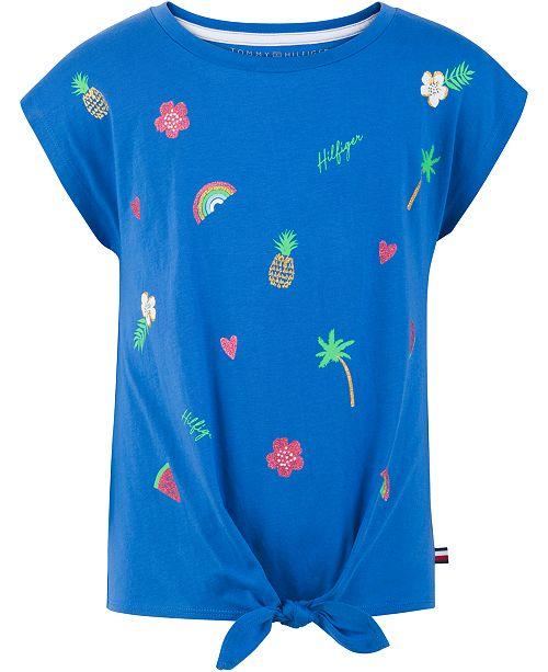 Tommy Hilfiger Big Girls Printed Tie-Front T-Shirt
