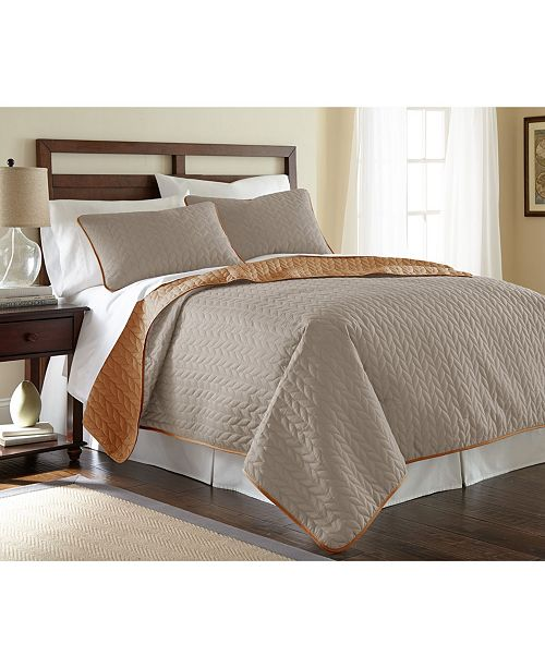 Modern Threads Sanctuary By Pct 3-Piece Solid Reversible Coverlet Set Leaf Atmosphere/Hazel Queen