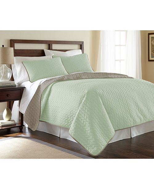 Modern Threads Sanctuary By Pct 3-Piece Solid Reversible Coverlet Set Leaf Jade/Atmosphere Queen