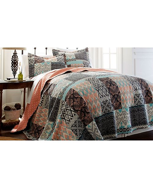 Modern Threads Sanctuary By Pct 100% Cotton 3 Pc Printed Reversible Quilt Sets Sylvia King