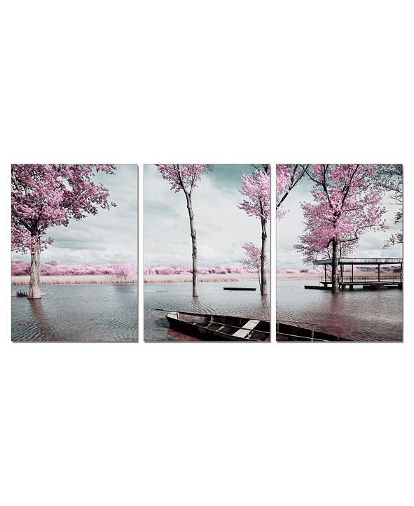 """Chic Home Decor Blossom 3 Piece Wrapped Canvas Wall Art Lakeside Scene -20"""" x 40"""""""