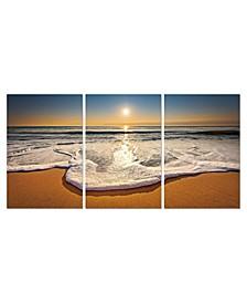 "Decor Sunset 3 Piece Wrapped Canvas Wall Art Beach Scene -27 ""x 60"""