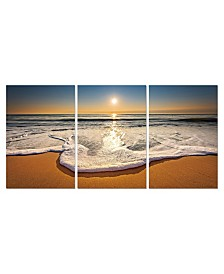 """Chic Home Decor Sunset 3 Piece Wrapped Canvas Wall Art Beach Scene -27 """"x 60"""""""
