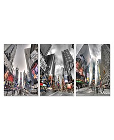 """Decor Citylife 3 Piece Wrapped Canvas Wall Art NYC Times Sq -27"""" x 60"""""""