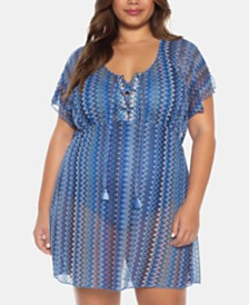 Becca ETC Plus Size Pier Side Stripe Crochet Tunic Cover-Up