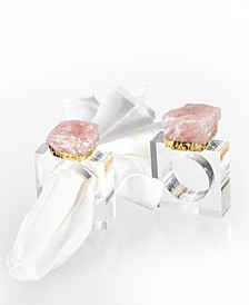 Decor Rose Quartz Napking Ring - Set of Two