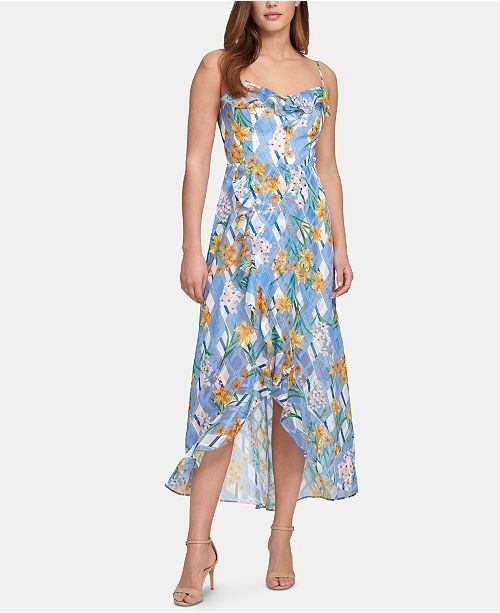 kensie Printed Ruffle-Trim A-Line Dress