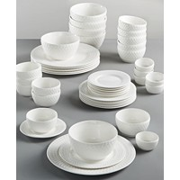 Deals on Gibson White Elements Fleetwood 42-Pc. Dinnerware Set