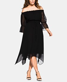 City Chic Trendy Plus Size Reflections Off-The-Shoulder Dress