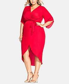 Plus Size Opulent Faux-Wrap Dress