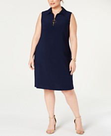 MSK Plus Size Sleeveless Front-Zip A-Line Dress