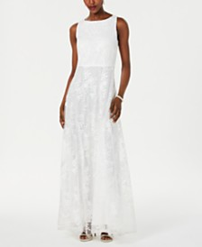 Tahari ASL Embellished Embroidered Gown