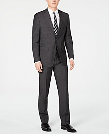 Men's Slim-Fit Charcoal Herringbone Suit