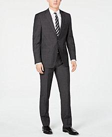 Calvin Klein Men's Slim-Fit Charcoal Herringbone Suit