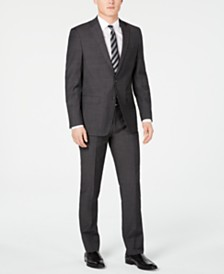 Calvin Klein Men's Slim-Fit Charcoal Herringbone Suit
