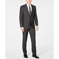 Calvin Klein Mens Slim-Fit Charcoal Herringbone Suit