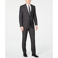 Calvin Klein Men's Slim-Fit Charcoal Herringbone Suit Deals
